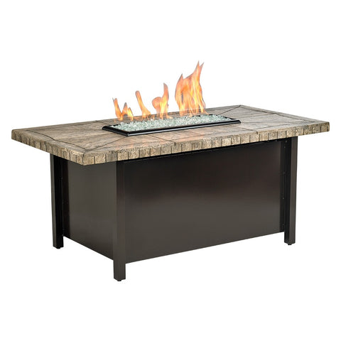 American Fire Glass - Carmel Rectangle Fire Pit w/Gray Travertine Mosaic Top - AFP-CAR-RCTTRAV-54 - Gas Fire Pit / Fire Table - Firetable Store