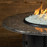 "American Fire Glass - Carmel Round Fire Pit w/ 42"" Black Mahogany Top - AFP-CAR-RDBM-42 - Gas Fire Pit / Fire Table - Firetable Store"
