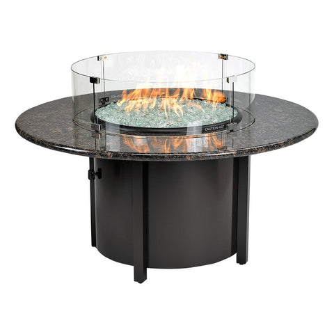 "American Fire Glass - Carmel Round Fire Pit w/48"" Black Mahogany Top - AFP-CAR-RDBM-48 - Gas Fire Pit / Fire Table - Firetable Store"