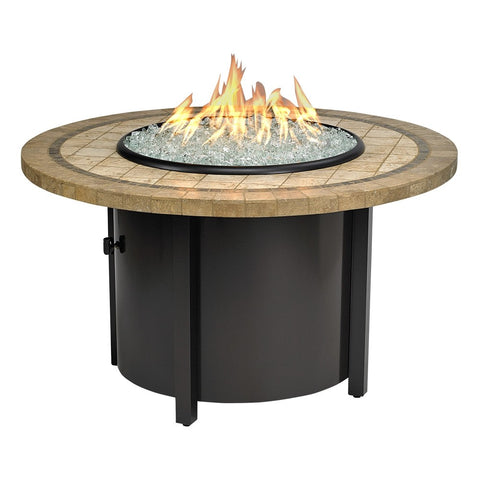 "American Fire Glass - Carmel Round Fire Pit w/ 42"" Capistrano Mosaic Top - AFP-CAR-RDCAP-48 - Gas Fire Pit / Fire Table - Firetable Store"