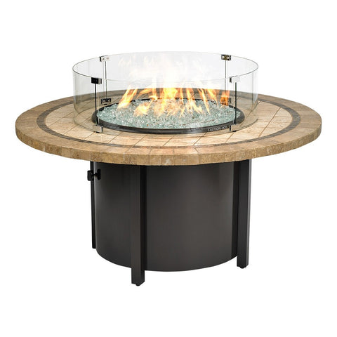 "American Fire Glass - Carmel Round Fire Pit w/48"" Capistrano Mosaic Top - AFP-CAR-RDCAP-48 - Gas Fire Pit / Fire Table - Firetable Store"