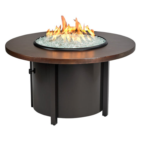 "American Fire Glass - Carmel Round Fire Pit w/ 42"" Hammered Copper Top - AFP-CAR-RDCOP-42 - Gas Fire Pit / Fire Table - Firetable Store"