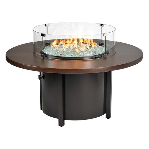 "American Fire Glass - Carmel Round Fire Pit w/48"" Hammered Copper Top - AFP-CAR-RDCOP-48 - Gas Fire Pit / Fire Table - Firetable Store"
