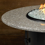 "American Fire Glass - Carmel Round Fire Pit w/ 42"" Pebble Granite Top - AFP-CAR-RDPEB-42 - Gas Fire Pit / Fire Table - Firetable Store"