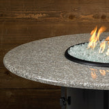 "American Fire Glass - Carmel Round Fire Pit w/48"" Pebble Granite Top - AFP-CAR-RDPEB-48 - Gas Fire Pit / Fire Table - Firetable Store"
