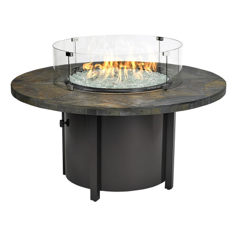 "American Fire Glass - Carmel Round Fire Pit w/48"" Rusty Slate Mosaic Top - AFP-CAR-RDSLATE-48 - Gas Fire Pit / Fire Table - Firetable Store"
