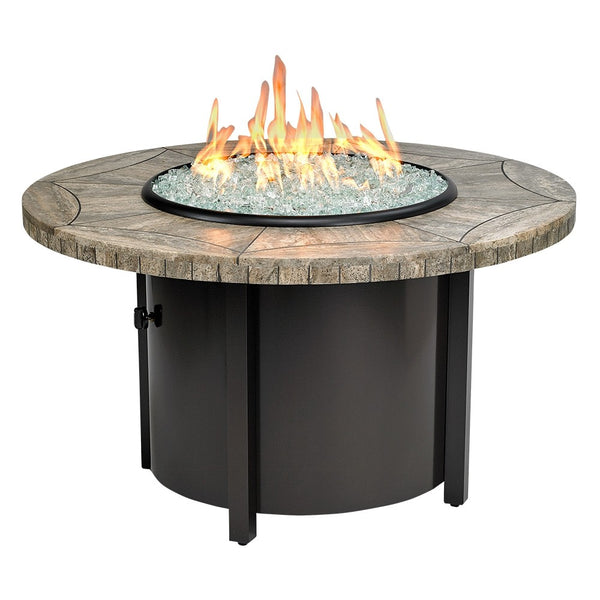 "American Fire Glass - Carmel Round Fire Pit w/ 42"" Gray Travertine Mosaic Top - AFP-CAR-RDTRAV-42 - Gas Fire Pit / Fire Table - Firetable Store"