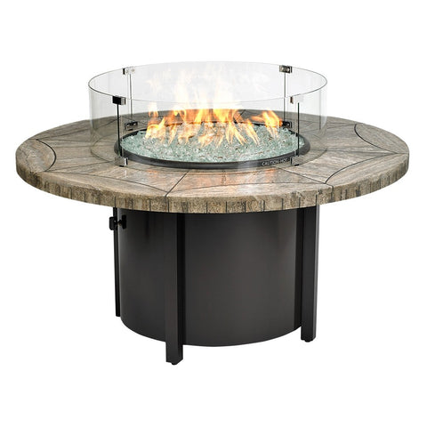 "American Fire Glass - Carmel Round Fire Pit w/48"" Gray Travertine Mosaic Top - AFP-CAR-RDTRAV-48 - Gas Fire Pit / Fire Table - Firetable Store"