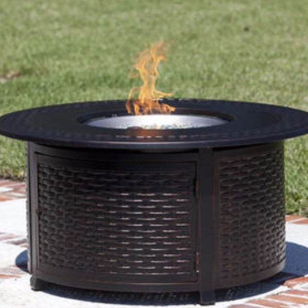 Well Traveled Living Bellante Woven Cast Aluminum LPG Fire Pit-Item #6219 - Gas Fire Pit / Fire Table - Firetable Store