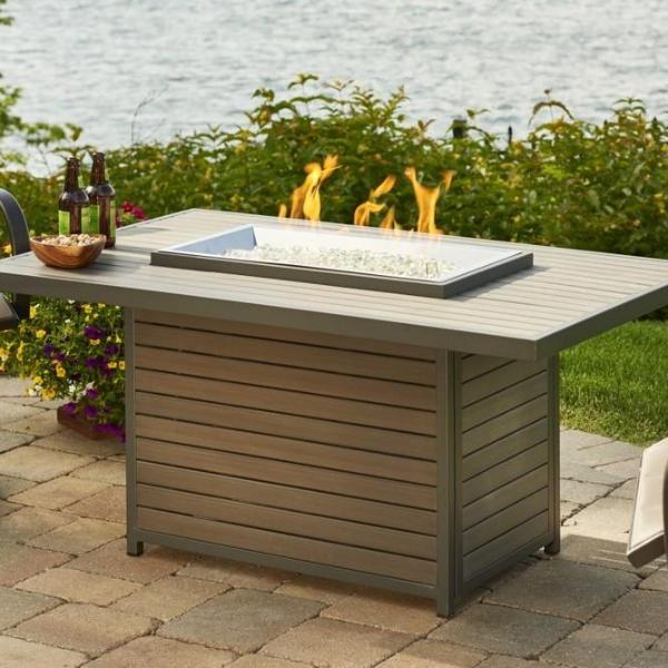 Outdoor GreatRoom - Brooks Rectangular Gas Fire Pit Table - BRK-1224 - Gas Fire Pit / Fire Table - Firetable Store