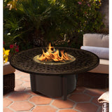 "American Fire Glass - Carmel Round Fire Pit w/ 48"" Cast Aluminum Top - AFP-CAR-RECAST-48 - Gas Fire Pit / Fire Table - Firetable Store"
