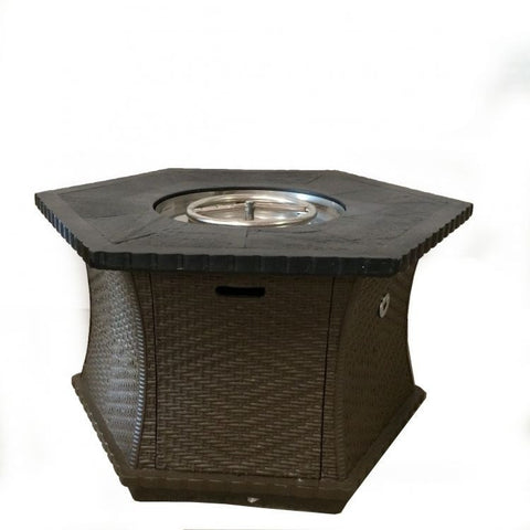 Tretco Cast Resin Hex Woven Look Chat Firepit- FP-C-42-Hex - Gas Fire Pit / Fire Table - Firetable Store