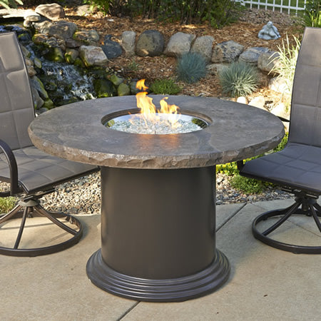 "Outdoor GreatRoom - Colonial 48"" Dining Firetable w/Round Supercast Marbalized Noche Top - MNB-48-DIN-K - Gas Fire Pit / Fire Table - Firetable Store"