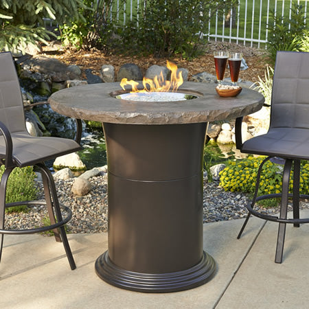 "Outdoor GreatRoom - Colonial 48"" Pub Firetable w/Round Supercast Marbalized Noche Top - MNB-48-PUB-K - Gas Fire Pit / Fire Table - Firetable Store"