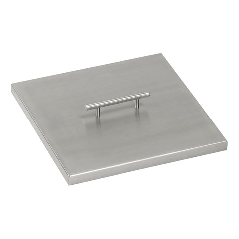 American Fire Glass - Stainless Steel Cover for Square Drop-In Fire Pit Pan - Gas Fire Pit / Fire Table - Firetable Store
