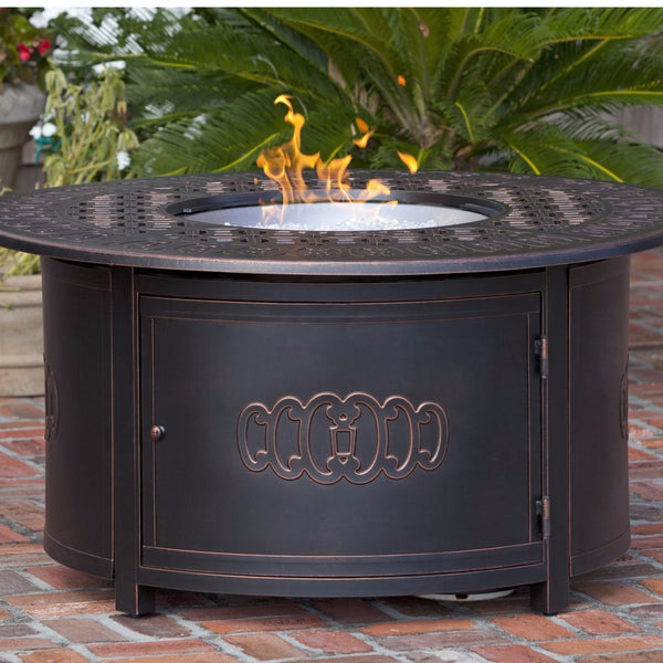Well Traveled Living Dynasty Round Cast Aluminum LPG Fire Pit-Item #62262 - Gas Fire Pit / Fire Table - Firetable Store