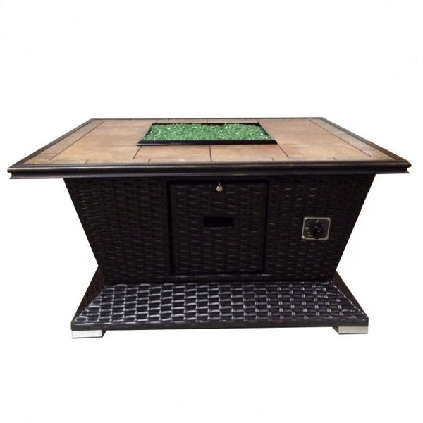 "Tretco 48"" Square Wicker Fire Pit FP-W-48SQ - Gas Fire Pit / Fire Table - Firetable Store"