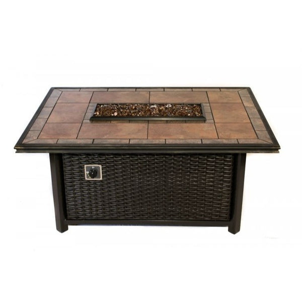 Tretco Wicker Linear Fire Pit- FP-W-36x24-42RectGRC - Gas Fire Pit / Fire Table - Firetable Store