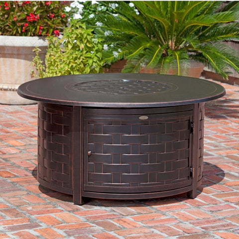 Well Traveled Living Perissa Woven Round LPG Fire Pit- Item #62208 - Gas Fire Pit / Fire Table - Firetable Store