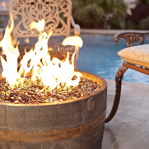 CC Products Wine Barrel Fire Pit- Rust Finish C10-13 - Gas Fire Pit / Fire Table - Firetable Store