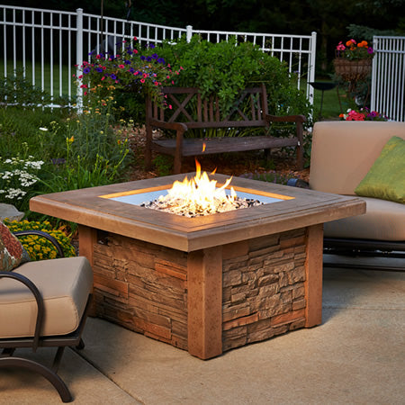 Outdoor GreatRoom - Sierra Fire Pit w/Ledgestone & Supercast Mocha Top - SIERRA-2424-M-K - Gas Fire Pit / Fire Table - Firetable Store