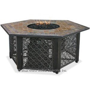 Blue Rhino/Endless Summer LP Gas Outdoor LP Firebowl With Slate Tile Mantel Hexagon GAD1374SP - Gas Fire Pit / Fire Table - Firetable Store