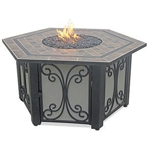 Blue Rhino/Endless Summer LP Gas Outdoor LP Firebowl With Slate Tile Mantel Hexagon GAD1352SP - Gas Fire Pit / Fire Table - Firetable Store