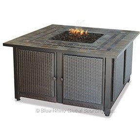Blue Rhino/Endless Summer LP Gas Outdoor LP Firebowl With Slate Tile Mantel W/Copper Accents GAD1393SP - Gas Fire Pit / Fire Table - Firetable Store