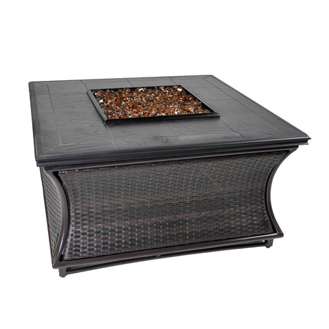 Tretco Spring Hill Wicker 44 inch Fire Pit Table - FP-W-SPR-44 - Gas Fire Pit / Fire Table - Firetable Store