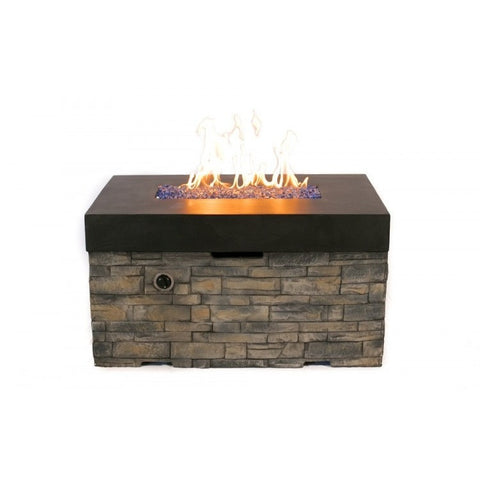 Tretco Linear Stacked Stone Fire Pit- FP-C-36x42-BK - Gas Fire Pit / Fire Table - Firetable Store