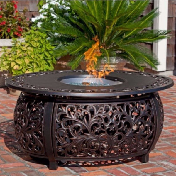 Well Traveled Living Toulon Oval Cast Aluminum LPG Fire Pit-Item #62198 - Gas Fire Pit / Fire Table - Firetable Store