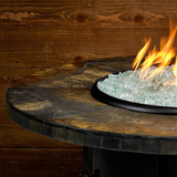 "American Fire Glass - Carmel Round Fire Pit w/ 42"" Rusty Slate Mosaic Top - AFP-CAR-RDSLATE-42 - Gas Fire Pit / Fire Table - Firetable Store"