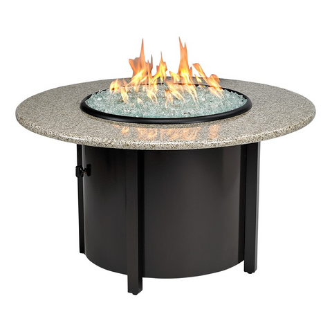 "American Fire Glass - Carmel Round Fire Pit w/ 42"" Sunset Gold Top - AFP-CAR-RDSUN-42 - Gas Fire Pit / Fire Table - Firetable Store"