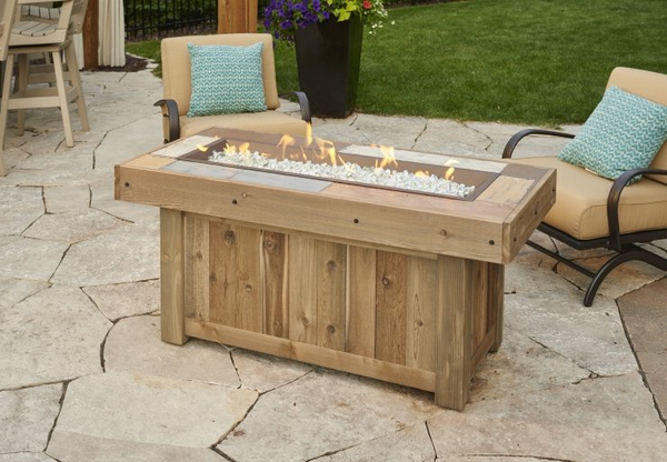 Outdoor GreatRoom - Vintage Linear Gas Fire Pit Table - VNG-1242BRN - Gas Fire Pit / Fire Table - Firetable Store