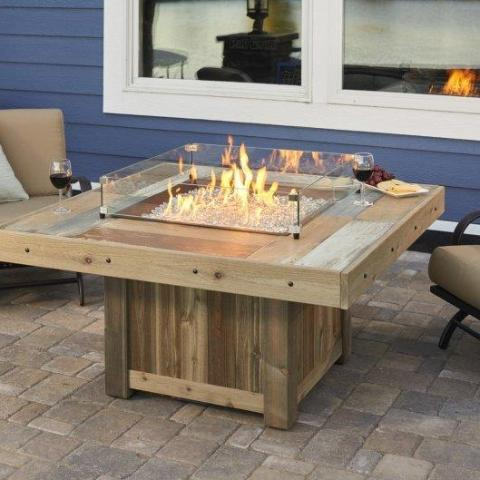 Outdoor GreatRoom - Vintage Square Gas Fire Pit Table  -  VNG-2424BRN - Gas Fire Pit / Fire Table - Firetable Store