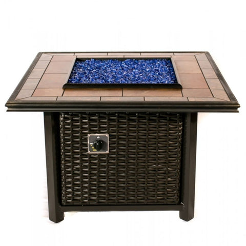 "Tretco 39"" Square Wicker Fire Pit- FP-W-SQ-36-36SQGRC - Gas Fire Pit / Fire Table - Firetable Store"