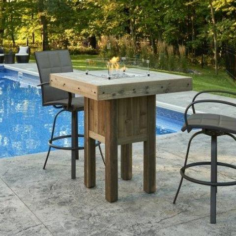 Outdoor GreatRoom - Westport Square Pub Height Gas Fire Pit Table   -   WP-1616 - Gas Fire Pit / Fire Table - Firetable Store