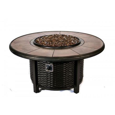 Tretco Wicker Round Fire Pit- FP-W-R-36-42RGRC - Gas Fire Pit / Fire Table - Firetable Store