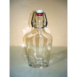 8 oz Clear Glass Flask with Flip Top