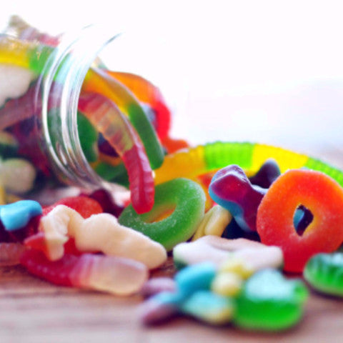 Curated Gummy Candy: Gummy Bears, Gummy Cola Bottles, Gummy Frogs, Gummy Funky Blobs, Gummy Peach Rings, Gummy Worms & Jelly Babies