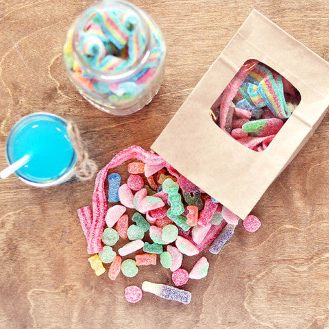 Curated Sour Candy: Sour Watermelon Rind, Sour Patch Kids, Sour Belts, Sour Straws, Blue Raspberry Colas, Sour Cola Bottles, Warheads, Warhead Spray, Sour Gummy Bears, Sour Worms