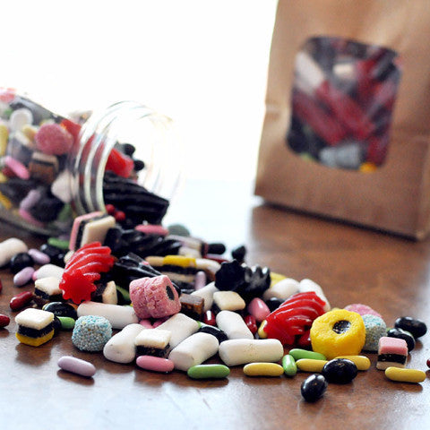 Curated licorice candy: All sorts candy, red licorice, pastel licorace