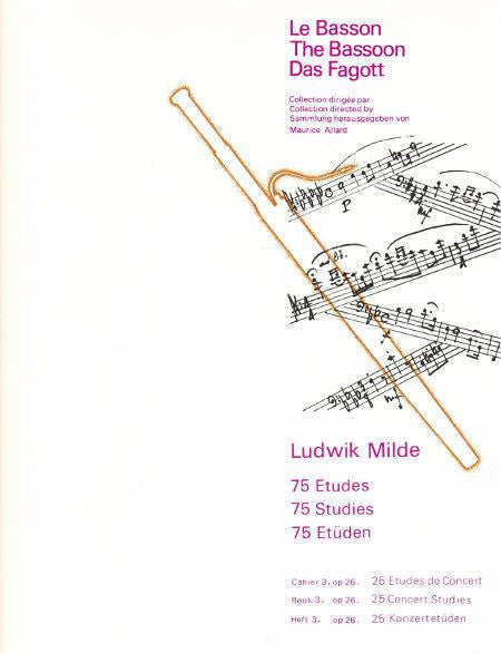 The Bassoon - 75 Studies - 25 Concert Studies - Op. 26 - Book 2 - Milde - H & H Music