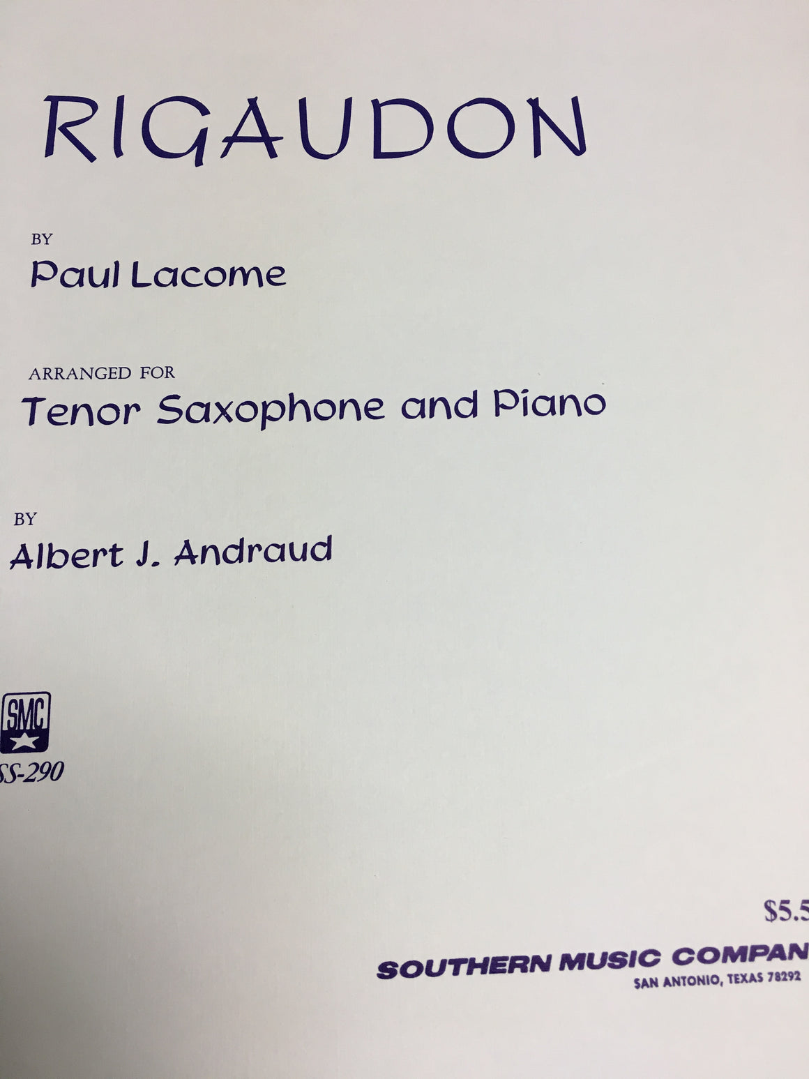 Rigaudon - Lacome/Arranged by Andraud