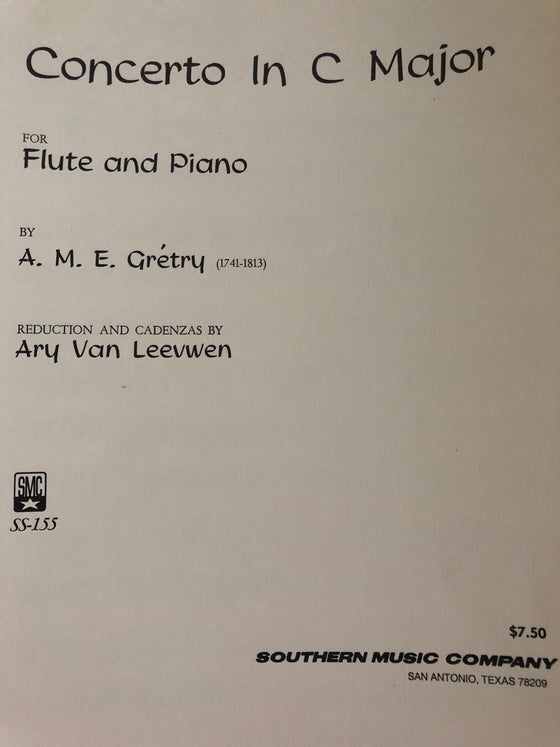 Concerto in C Major for Flute and Piano - Grétry/Leevwen