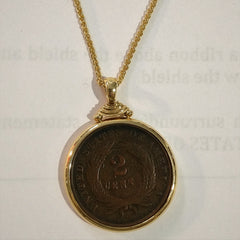 Two Cent Coin Pendant in 14k Gold Bezel
