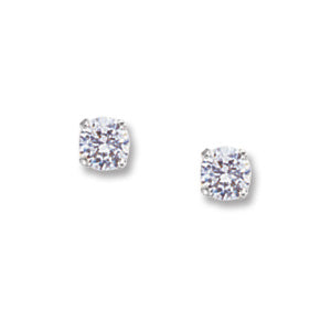 4mm Round Cubic Zirconia Stud Earrings in White Gold - Silverscape Designs