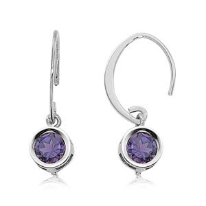Carla Corporation  Round Amethyst and 14k White Gold Earrings