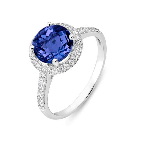 14 Karat White Gold Tanzanite and Diamond Halo Ring - Silverscape Designs