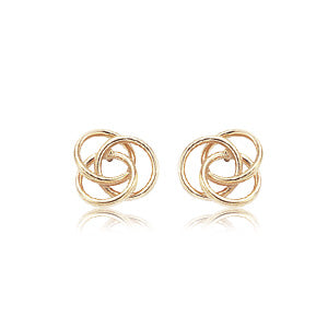 Love Knot Earrings in Yellow Gold - Silverscape Designs